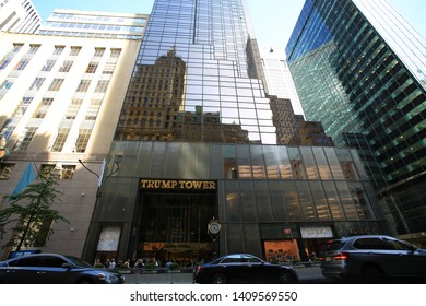 New York- May 10 2019: Trump Tower facade. Trump Tower serves as the headquarters for The Trump Organization