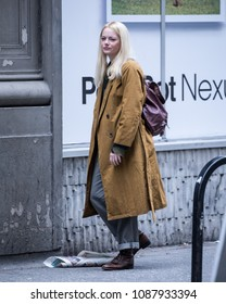 NEW YORK - May 10: Emma Stone is seen filming 'Maniac' on May 10, 2018 in New York City.