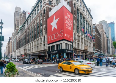New York, New York. - May 13, 2017: People shopping at Macy's department store in New York City. It is the largest department store in the United States.