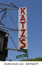 NEW YORK - MAY 14, 2015: Sign for the historical Katz's Delicatessen (est. 1888), a famous restaurant, known for its Pastrami sandwiches in Lower East Side in Manhattan
