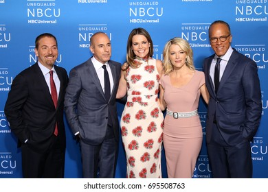 NEW YORK - MAY 15, 2017: Chuck Todd, Matt Lauer, Savannah Guthrie, Megyn Kelly and Lester Holt attend the 2017 NBCUniversal Upfront on May 15, 2017, in New York.