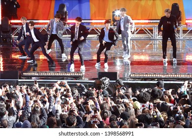 NEW YORK - May 15, 2019: BTS performs on 'Good Morning America' in Central Park on May 15, 2019 in New York City.