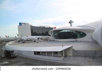 NEW YORK- MAY 16, 2019: TWA Hotel opened at the landmark TWA Flight Center building designed by Eero Saarinen at the John F. Kennedy International Airport (JFK) in New York