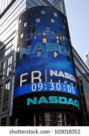 NEW YORK - MAY 18: Sign announcing opening Facebook IPO is flashed on a screen outside the NASDAQ stock exchange at the opening bell in Times Square on May 18, 2012 in New York City.