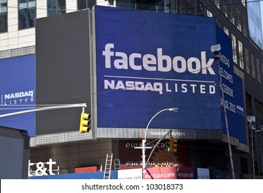 NEW YORK - MAY 18: Sign announcing Facebook IPO is flashed on a screen outside the Thomson Reuters building at the opening bell in Times Square on May 18, 2012 in New York City.