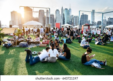 NEW YORK - MAY 19, 2017: People relaxing and having fun on the outdoors event in New York City at summer