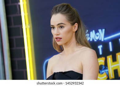 """NEW YORK - MAY 2, 2019: Suki Waterhouse attends the premiere of """"Pokemon Detective Pikachu"""" in Times Square on May 2, 2019, in New York City."""