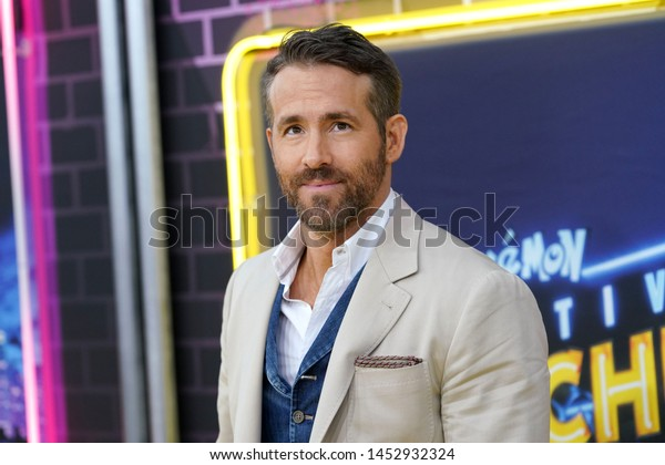 """NEW YORK - MAY 2, 2019: Ryan Reynolds attends the premiere of """"Pokemon Detective Pikachu"""" in Times Square on May 2, 2019, in New York City."""