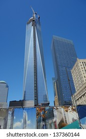 NEW YORK - MAY 2:  The 408-foot spire was placed on the top of 1 World Trade Center, which is under construction in New York City, NY, USA on May 2, 2013.