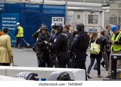 NEW YORK - MAY 2: Port Authority Police stand guard near the World Trade Center PATH train station on May 2, 2011 in New York City. Osama bin Laden was killed in Pakistan by US Seals the day before.