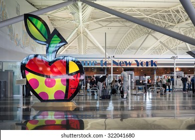 NEW YORK - MAY 20, 2015: Welcome sign inside John F. Kennedy International Airport. It is the busiest international air passenger gateway in the United States, handling 53,254,362 passengers in 2014.