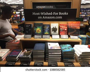 NEW YORK- MAY 2018: Amazon Books store interior shot - most wished for books. Customers can pay w Amazon Prime and app in brick-and-mortar Time Warner Center. E-commerce biz sells Kindles AMZN