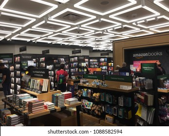 NEW YORK- MAY 2018: Amazon Books store interior shot. Customers can pay w Amazon Prime and app in brick-and-mortar Time Warner Center. E-commerce biz sells Kindles, Fire TV tablet Alexa Echo AMZN