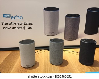 NEW YORK- MAY 2018: Amazon Echo family, Alexa Voice Service activated recognition system inside Amazon book store. E-commerce biz sells Kindles, Fire TV tablet Alexa Echo AMZN smart home
