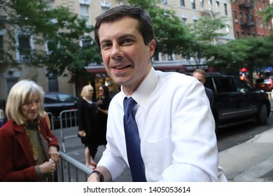 NEW YORK - MAY 22, 2019: Democratic presidential candidate Pete Buttigieg is seen on May 22, 2019, in New York.