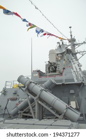 NEW YORK - MAY 22:Harpoon cruise missile launchers on the deck of US guided missile destroyer USS Cole during Fleet Week 2014 on May 22, 2014 in New York