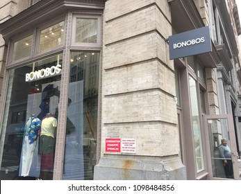 NEW YORK - MAY 23, 2018: Bonobos is an e-commerce-driven apparel company that designs and sells men's clothing. It is a online retailer and Walmart (NYSE: WMT) agreed to acquire Bonobos.