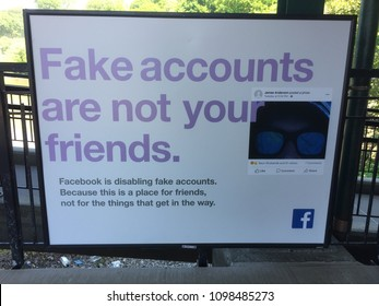 NEW YORK - May 23, 2018: Facebook launches PR campaign as public backlash after Cambridge Analytica scandal and russian interference in 2016 elections.