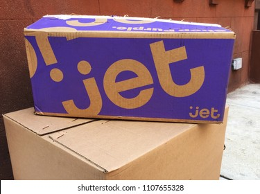NEW YORK - MAY 23, 2018: Jet.com is an American e-commerce company headquartered in Hoboken, New Jersey. The company was co-founded by entrepreneur Marc Lore and acquired by Walmart (NYSE: WMT)