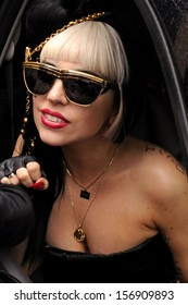 "NEW YORK - MAY 23:  Pop superstar Lady Gaga greets her ""Little Monster"" fans while leaving the View television show outside ABC Studios on May 23, 2011 in New York City."