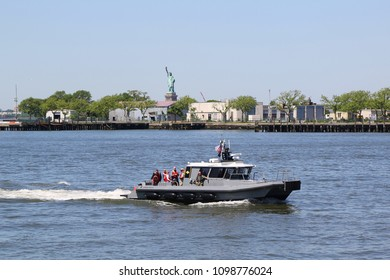NEW YORK - MAY 24, 2018: New York Naval Militia Military Emergency Boat  provides security in New York Harbor during Fleet Week 2018