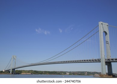 NEW YORK - MAY 25, 2014: Verrazano Bridge in New York.The Verrazano Bridge is a double-decked suspension bridge that connects the boroughs of Staten Island and Brooklyn in New York