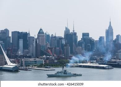 NEW YORK, May 25, 2016: HMCS Athabaskan (D 282) sailing Hudson River during Fleet Week NYC 2016