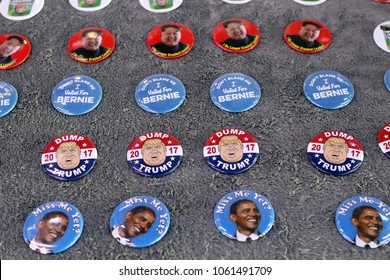 New York, New York; May 26, 2016; Political pins supporting Barack Obama and disparaging Donald Trump.