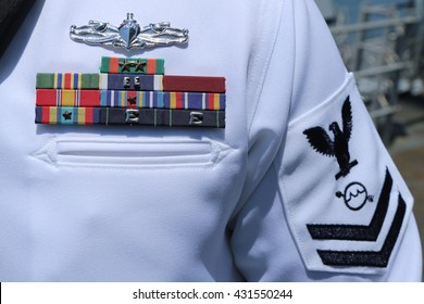 NEW YORK - MAY 26, 2016: US Navy military ribbons on United States Navy Uniform in New York