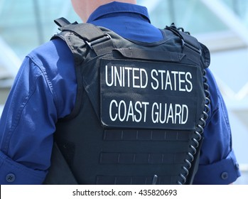NEW YORK - MAY 26, 2016: United States Coast Guard officer providing security during Fleet Week 2016 in New York.