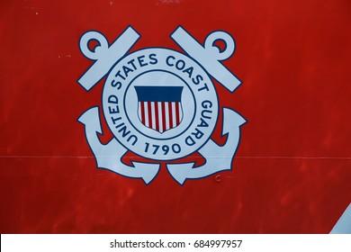 NEW YORK - MAY 26, 2016: United States Coast Guard logo on United States Coast Guard Cutter Forward docked in Brooklyn Cruise Terminal during Fleet Week 2016 in New York.