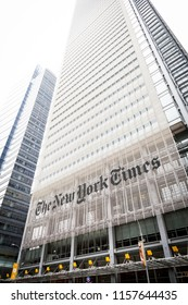 NEW YORK - MAY 28 2018: The iconic The New York Times company name on the screen of ceramic rods on the headquarters building facade on Eighth Avenue in New York, 28 May 2018.