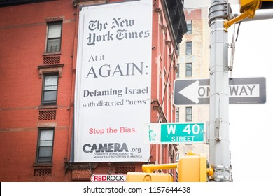 NEW YORK MAY 28 2018: CAMERA.org billboard posted across from New York Times building on Eighth Ave NYC 28 May 2018. CAMERA acronym is Committee for Accuracy in Middle East Reporting in America.