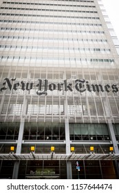 NEW YORK - MAY 28 2018: Close up of the iconic The New York Times company name on the screen of ceramic rods on the headquarters building facade on Eighth Avenue in New York, 28 May 2018.
