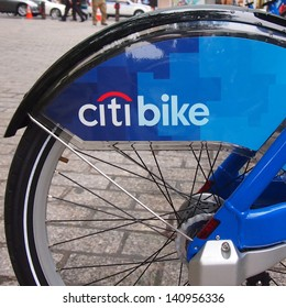 NEW YORK - MAY 28: Bicycles for the Citibike bike share system lie docked in a rack near Bowling Green, Manhattan, May 28, 2013 in New York City. The bicycle-sharing program began operation May 2013.