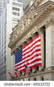 NEW YORK, May 29: An American flag hangs on the front of the New York Stock Exchange building in New York City, May 29, 2016