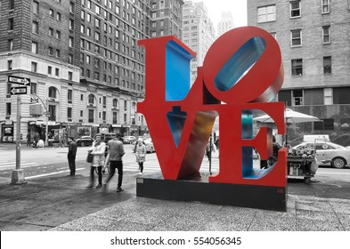 NEW YORK - MAY 3, 2016: Love sculpture is an iconic Pop Art work by american artist Robert Indiana
