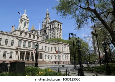 NEW YORK - MAY 3, 2018: New York City Hall. The building is the oldest city hall in the United States that still houses its original governmental functions