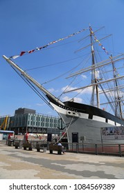 NEW YORK - MAY 3, 2018: Wavertree historic iron-hulled sailing ship at the South Street Seaport at Pier 15 in Manhattan. South Street Seaport Museum was founded in 1967 by Peter and Norma Stanford