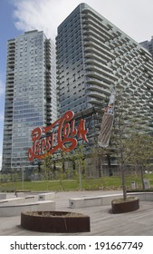 NEW YORK - MAY 6  Landmark Pepsi Cola sign in Long Island City on May 6, 2014  This historic 147 foot sign once on the Pepsi Factory is now located at Gantry Plaza State Park in Queens