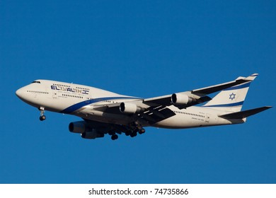 NEW YORK - MAY 8: ELAL Boeing 747 on approach to JFK in New York, USA on May 8, 2010. EL AL is rated the safest airline in the world is also flag carrier airline in Israel