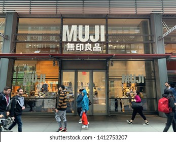 New York - May 9 2019: Japanese store MUJI flagship in new york  near times square.  MUJI is  a Japanese retail company which sells a wide variety of household