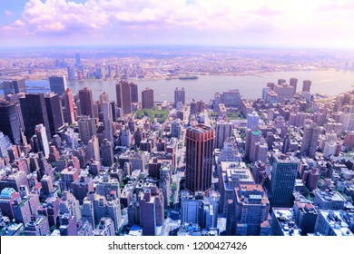 New York - Midtown Manhattan aerial view. Filtered color style.