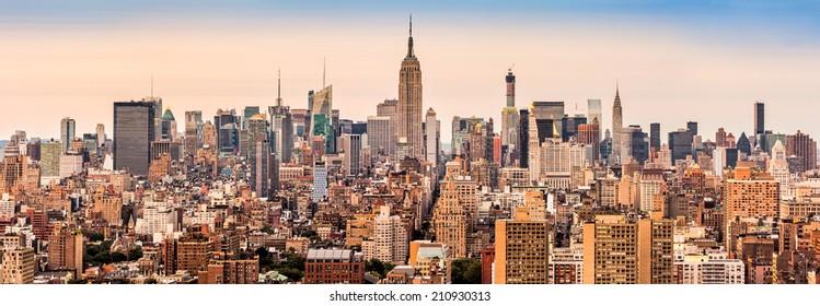 New york midtown skyline panorama at sunset.