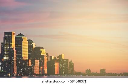 new york night skyline cityscape panoramic. new york by night city