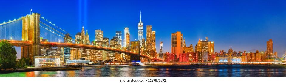 New York night view of the Lower Manhattan. USA.