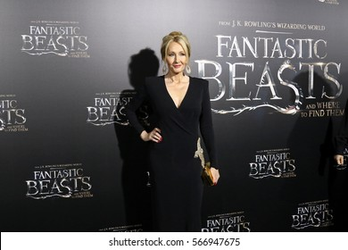"""NEW YORK - NOV 10, 2016:  J.K. Rowling attends the premiere """"Fantastic Beasts And Where To Find Them"""" at Alice Tully Hall on November 10, 2016, in New York City."""