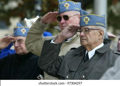 NEW YORK - NOV 11: Members of the American Martyrs Catholic War Veterans, Post 1772 of Bayside salute at a Veteran's Day Memorial service at St. John's University November 11, 2005 in Queens, NY.