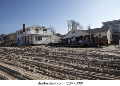 NEW YORK -NOV 12:Destroyed homes during Hurricane Sandy in the flooded neighborhood at Breezy Point in Far Rockaway area  on November 12, 2012 in New York City, NY