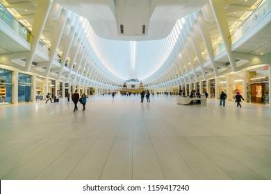 NEW YORK - NOV 14: The interior of the Oculus in World Trade Center Transportation Hub on Nov 14, 2017 in New York, USA